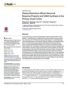 Dietary Restriction Affects Neuronal Response ... - Semantic Scholar