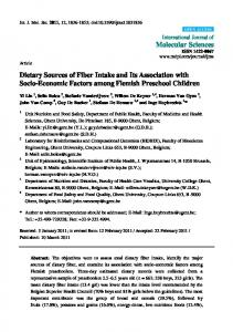 Dietary Sources of Fiber Intake and Its Association with Socio ... - MDPI