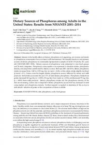 Dietary Sources of Phosphorus among Adults in the United ... - MDPI