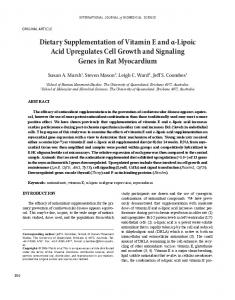 Dietary Supplementation of Vitamin E and α-Lipoic ... - ScienceOpen