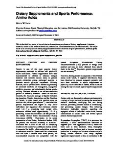 Dietary Supplements and Sports Performance: Amino ... - BioMedSearch