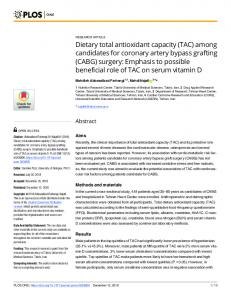 Dietary total antioxidant capacity (TAC) - Plos