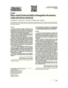 Dietary vitamin K intake and stability of anticoagulation with coumarins