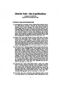 Dietrich Feist's publication list