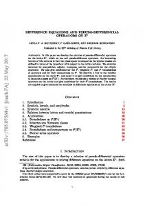 Difference equations and pseudo-differential operators on $\mathbb {Z ...