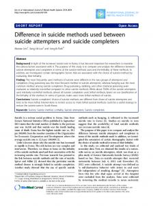 Difference in suicide methods used between suicide attempters and ...