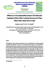 Difference in the Sustainability between ...