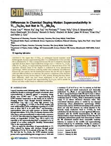 Differences in Chemical Doping Matter ... - ACS Publications