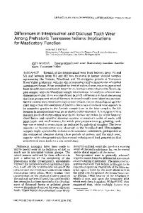 Differences in Interproximal and Occlusal Tooth Wear among ...