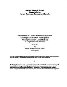 Differences in Labour Force Participation, Earnings and ... - CiteSeerX