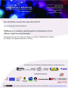 Differences in synthesis and absorption of cholesterol ... - BioMedSearch