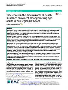 Differences in the determinants of health insurance