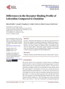 Differences in the Receptor Binding Profile of Lofexidine Compared to