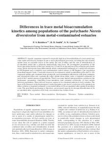Differences in trace metal bioaccumulation kinetics among ...