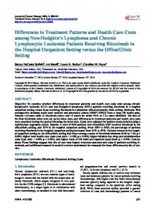Differences in Treatment Patterns and Health Care Costs among Non ...
