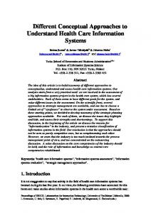 Different Conceptual Approaches to Understand Health Care ...