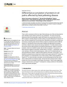 Differential accumulation of proteins in oil palms affected by ... - PLOS