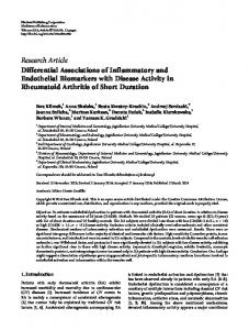 Differential Associations of Inflammatory and Endothelial Biomarkers ...