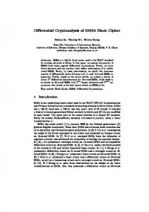 Differential Cryptanalysis of SMS4 Block Cipher - Cryptology ePrint ...