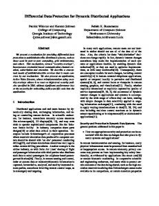 Differential Data Protection for Dynamic Distributed Applications