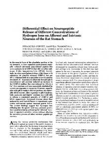 Differential Effect on Neuropeptide Release of ... - Gastroenterology