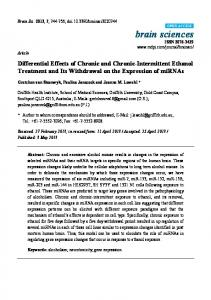 Differential Effects of Chronic and Chronic-Intermittent Ethanol ... - MDPI