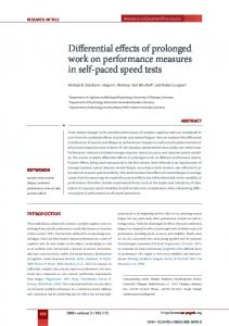 Differential effects of prolonged work on