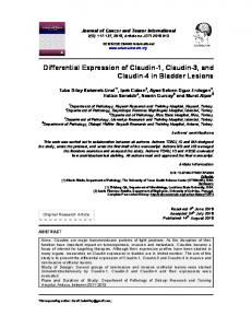 Differential Expression of Claudin-1, Claudin-3 ... - Journal Repository
