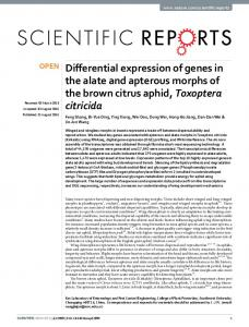 Differential expression of genes in the alate and apterous ... - Nature