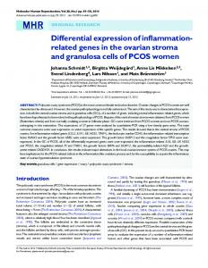 Differential expression of inflammation-related genes in the ovarian ...