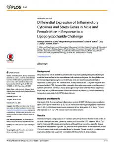 Differential Expression of Inflammatory Cytokines and Stress ... - PLOS