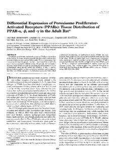 Differential expression of peroxisome proliferator-activated receptors ...