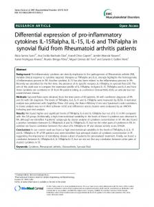 Differential expression of pro-inflammatory cytokines IL-15Ralpha, IL ...