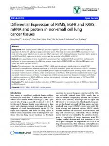 Differential Expression of RBM5, EGFR and KRAS mRNA and protein ...