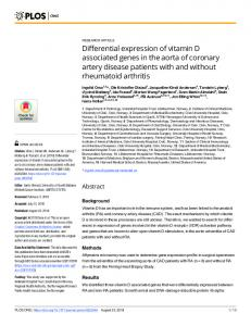 Differential expression of vitamin D associated genes in the ... - PLOS