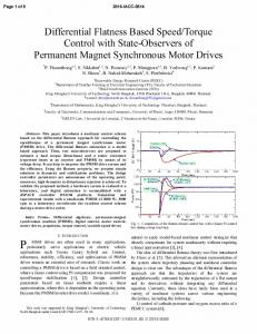 Differential Flatness Based Speed/Torque Control with ... - IEEE Xplore