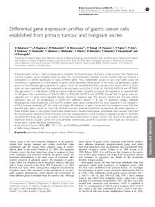 Differential gene expression profiles of gastric cancer cells ... - CiteSeerX