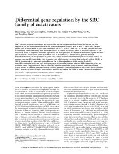 Differential gene regulation by the SRC family of coactivators - Genes ...