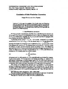 DIFFERENTIAL GEOMETRY AND ITS APPLICATIONS Geodesics of ...