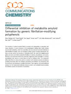 Differential inhibition of metabolite amyloid formation by ... - Nature