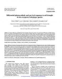 Differential photosynthetic and survival responses to soil ... - CiteSeerX
