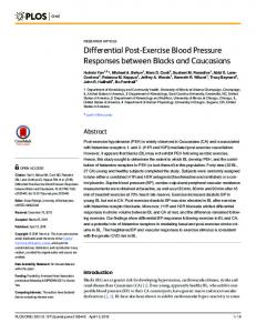 Differential Post-Exercise Blood Pressure Responses between ... - PLOS