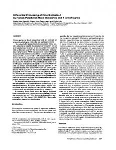 Differential Processing of Proenkephalin-A by Human Peripheral ...