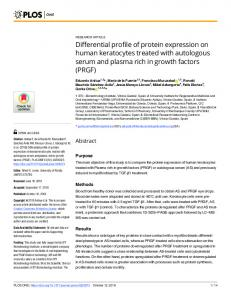 Differential profile of protein expression on human keratocytes ... - Plos