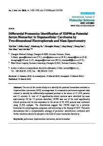 Differential Proteomics Identification of HSP90 as Potential Serum