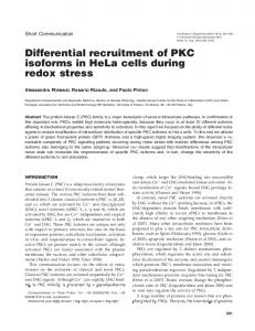 Differential recruitment of PKC isoforms in HeLa cells during ... - BioOne