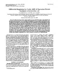 Differential Regulation by Cyclic AMP of Starvation Protein - Journal of ...