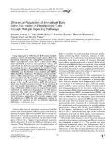 Differential Regulation of Immediate Early Gene ...