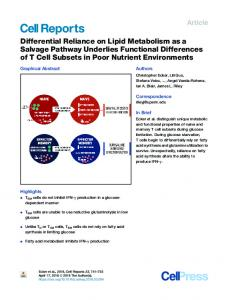 Differential Reliance on Lipid Metabolism as a Salvage ... - Cell Press