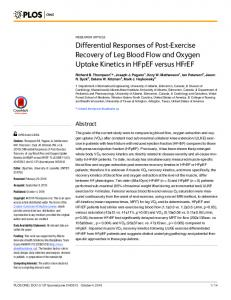Differential Responses of Post-Exercise Recovery ... - Semantic Scholar
